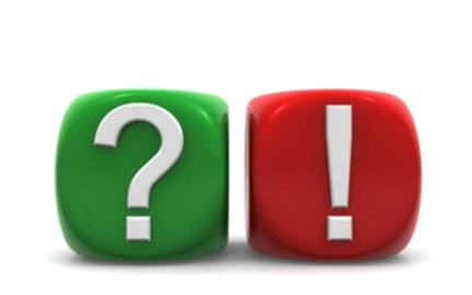 Würfel mit Fragezeichen und Auszufezeichen