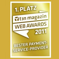 t3n Magazin Web Awards 2011 Bester Payment-Service-Provider